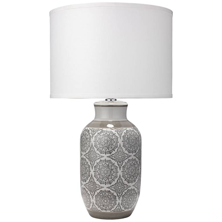 Jamie Young Beatrice Gray Patterned Ceramic Table Lamp