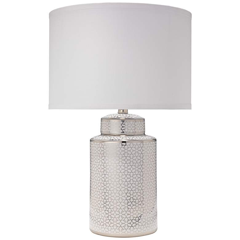 Jamie Young Celeste Silver and White Ceramic Table Lamp