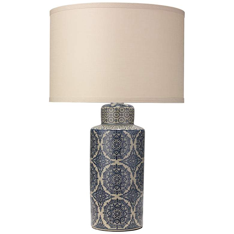 Jamie Young Deliah Blue Patterned Ceramic Column Table Lamp