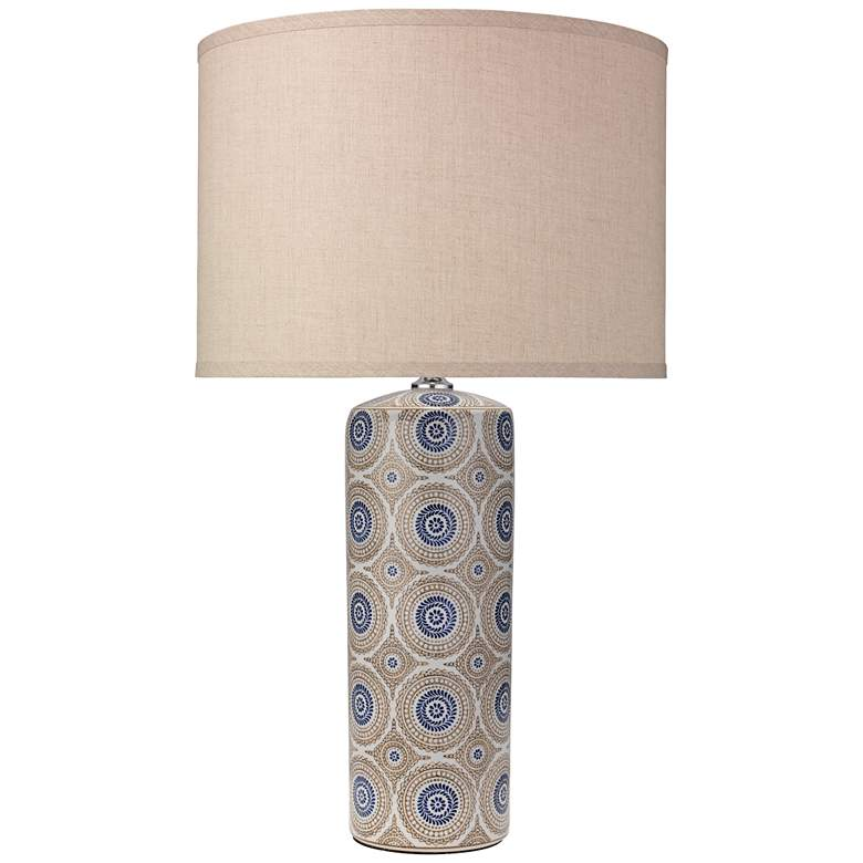 Fiona Blue and Natural Patterned Ceramic Column Table