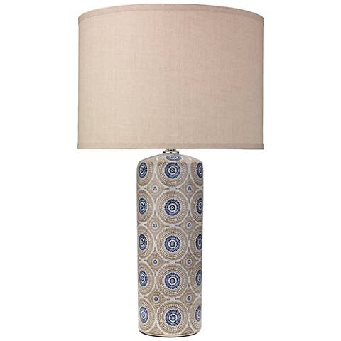 Fiona Blue and Natural Patterned Ceramic Column Table Lamp