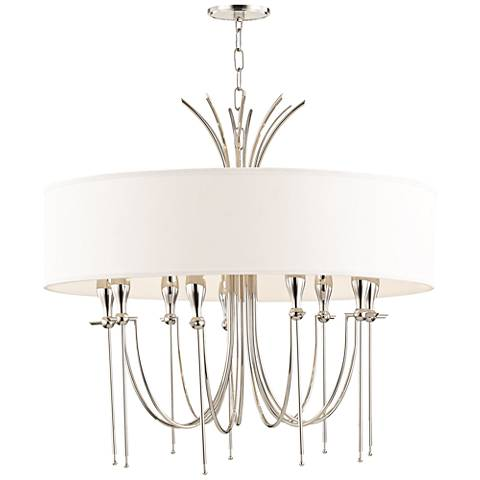 "Damaris 30"" Wide Polished Nickel 9-Light Chandelier"