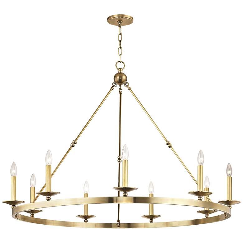 """Allendale 46 3/4"""" Wide Aged Brass 9-Light Chandelier"""