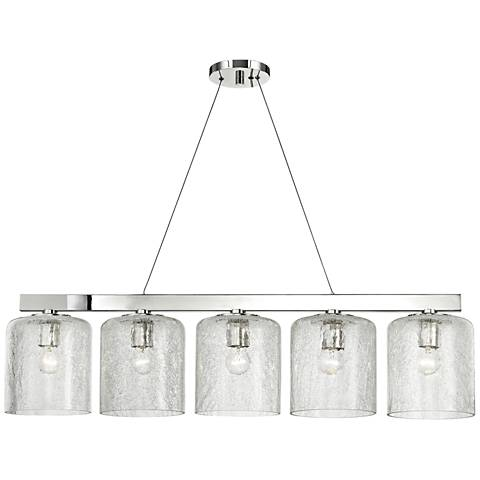 "Charles 40 1/2"" Wide Polished Nickel 5-Light Island Pendant"