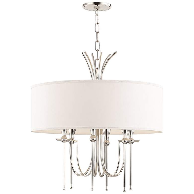 "Damaris 22"" Wide Polished Nickel 6-Light Chandelier"