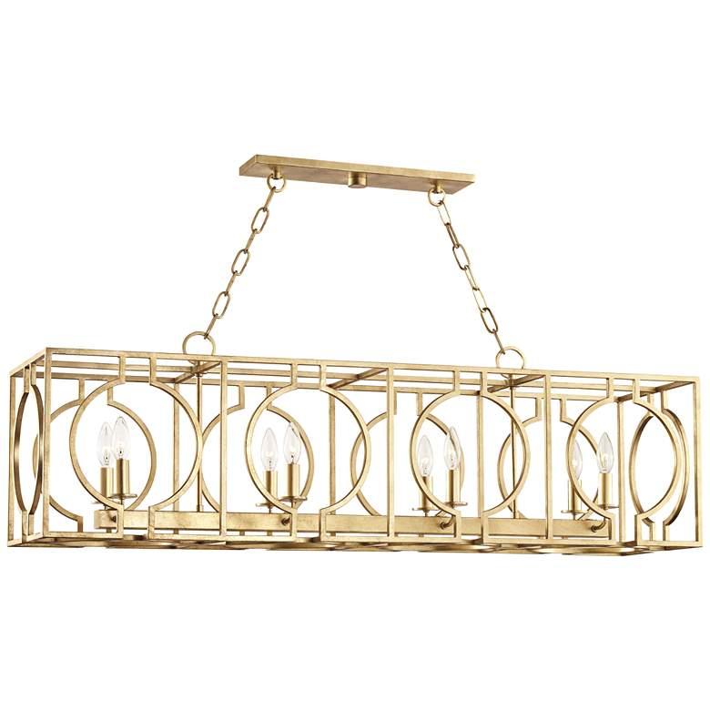 "Octavio 46"" Wide Gold Leaf Kitchen Island Light Pendant"