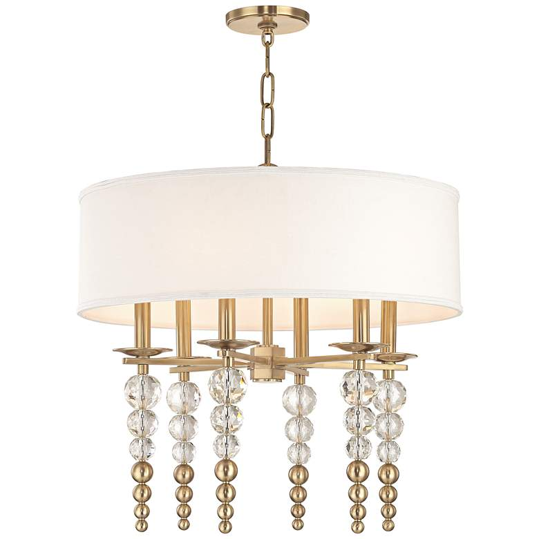 """Hudson Valley Persis 24"""" Wide Aged Brass 6-Light Pendant"""