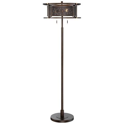 Franklin Iron Works Britton Floor Lamp with Metal Mesh Shade