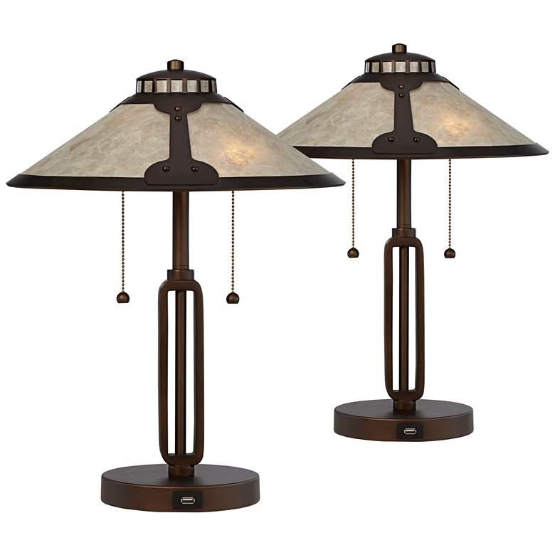 Samuel Mica Shade USB Desk Lamps - Set of 2