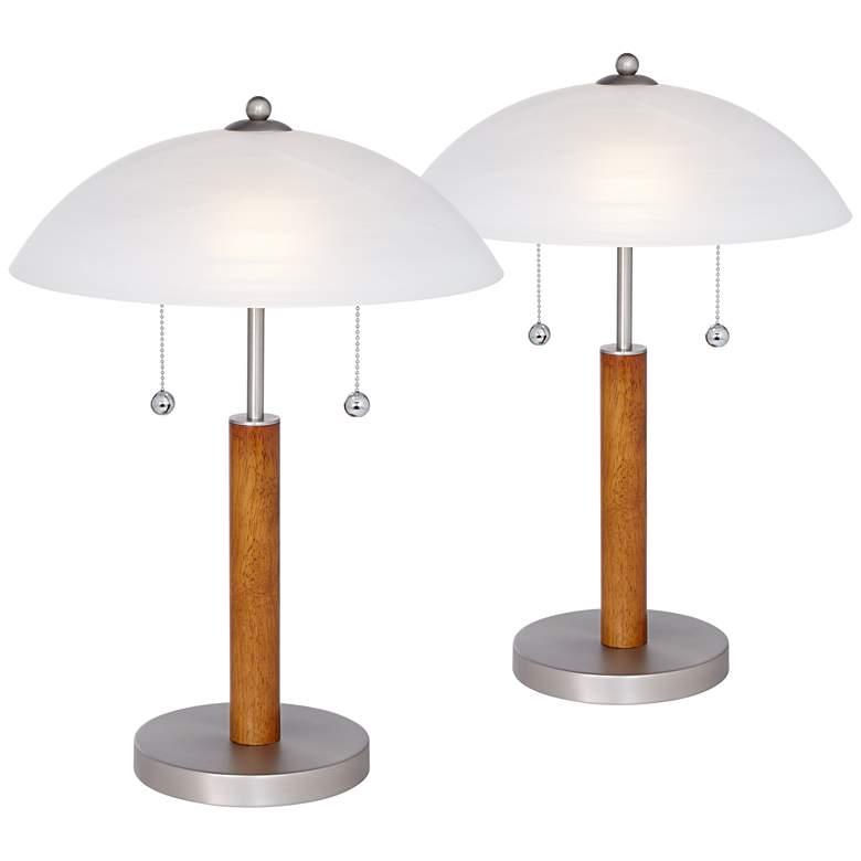 "Orbital 19 1/2"" Brushed Steel-Wood Table Lamps - Set of 2"