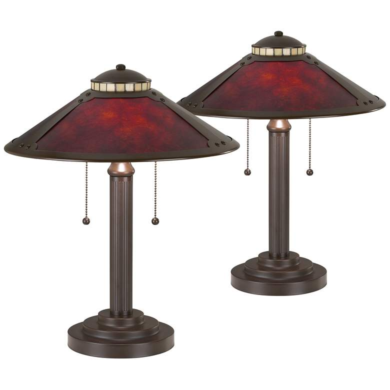 """Mica Mission-Style 18 1/2"""" High Desk Lamps - Set of 2"""