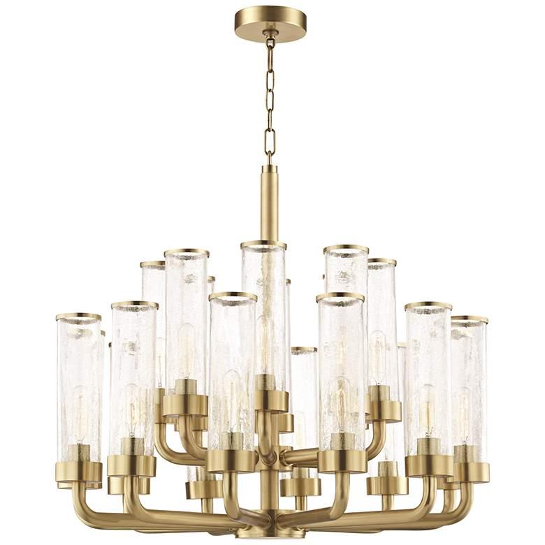 """Hudson Valley Soriano 32""""W Aged Brass 20-Light Chandelier"""