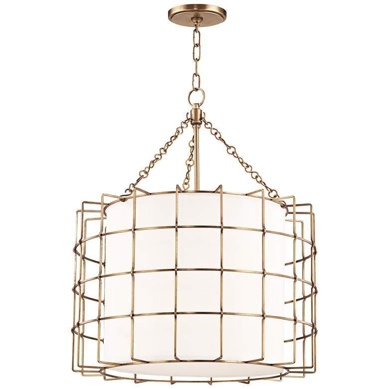 """Hudson Valley Sovereign 24""""W Aged Brass LED Pendant Light"""