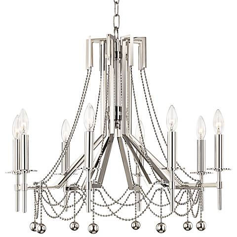 "Zariah 27 1/2"" Wide Polished Nickel 8-Light Chandelier"