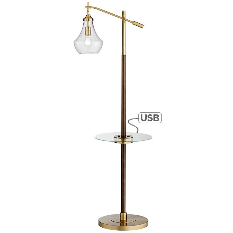 Harlow Bronze Industrial Tray Table Floor Lamp with USB Port