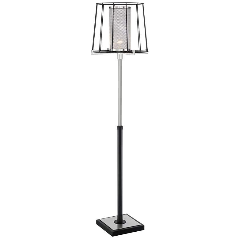 Dixon Brushed Nickel and Black Open Cage Floor Lamp