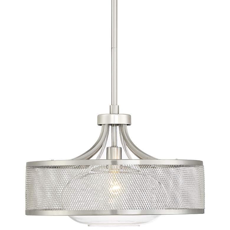 "Luis 18"" Wide Brushed and Polished Nickel LED Pendant Light"