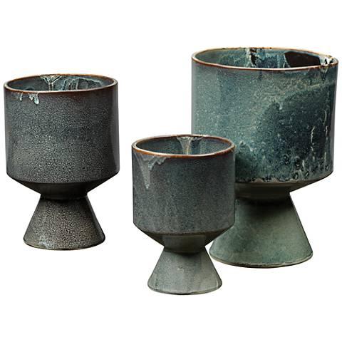 Jamie Young Berkeley Royal Blue Ceramic 3-Piece Pot Set