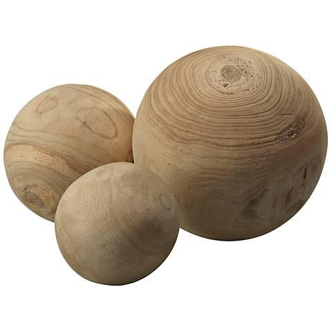 Jamie Young Malibu Natural 3-Piece Wood Ball Set