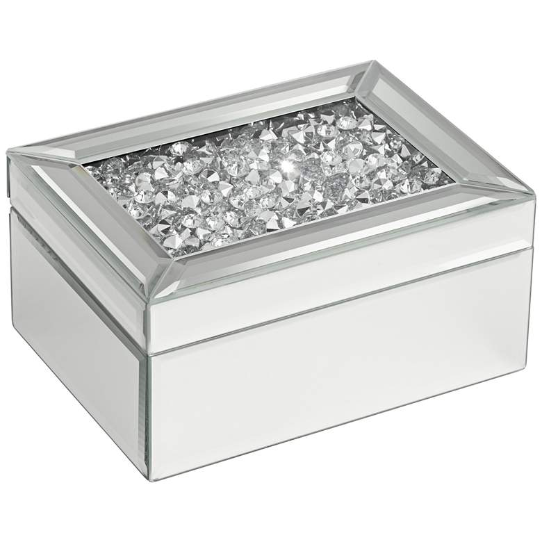 Spritz Large Mirrored Jewelry Box with Beads Inside