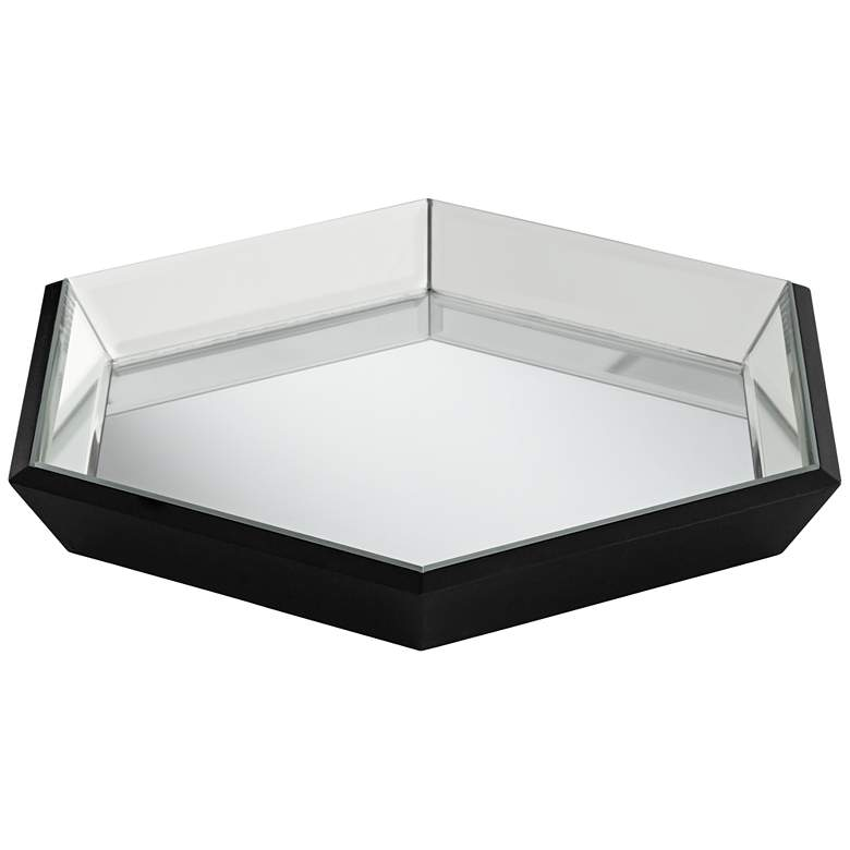 "Hansen 13 3/4"" Wide Modern Luxe Hexagon Mirrored Tray"