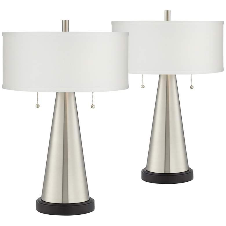 Craig Brushed Nickel Modern USB Table Lamps Set of 2