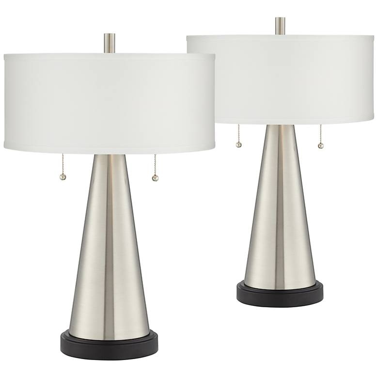 Craig Brushed Nickel Table Lamp With USB Port Set of 2