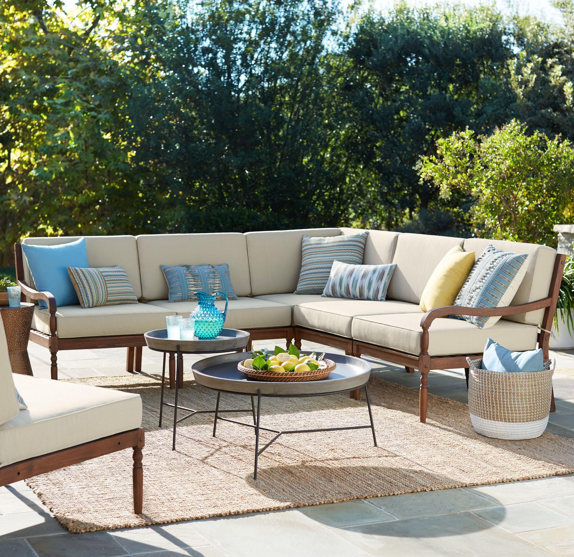 Napa Modular Acacia Wood 5 Piece Outdoor Seating Patio Set
