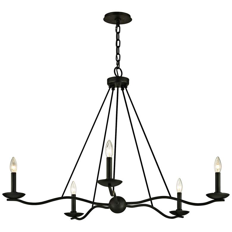 "Sawyer 40"" Wide Forged Iron 5-Light Chandelier"