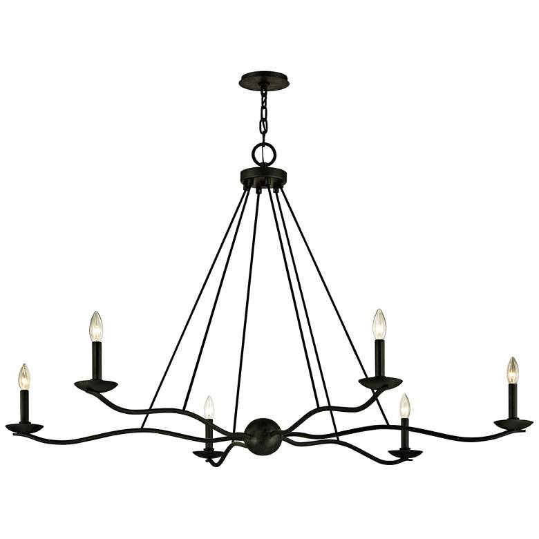 "Sawyer 53 1/2"" Wide Forged Iron 6-Light Chandelier"