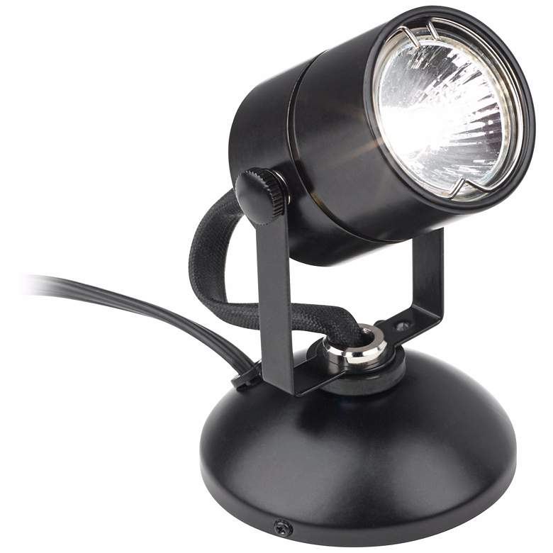 "Lil Wonder 4"" High Black Finish Mini Halogen Upllight"