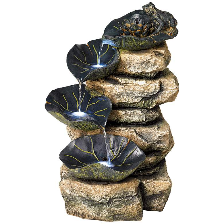 """Frog and Four Lily Pad LED Lighted 21"""" High Outdoor Fountain"""
