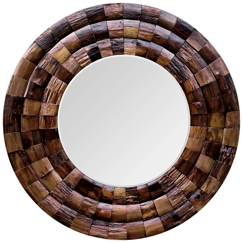 """Wine Country Reclaimed Wood 36"""" Round Wall Mirror"""