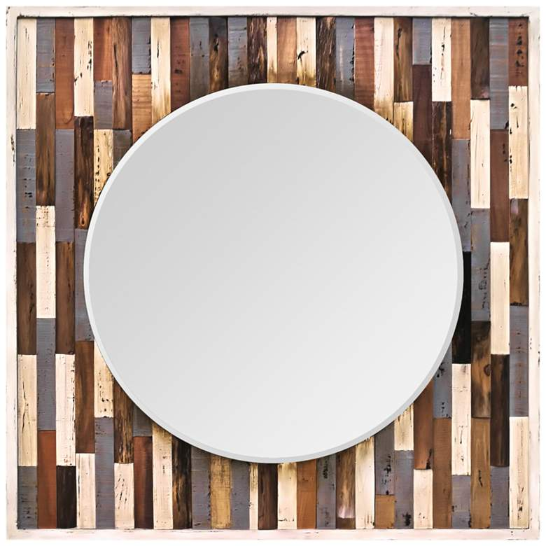 """Country Pine Reclaimed Wood 40"""" Square Framed Wall Mirror"""