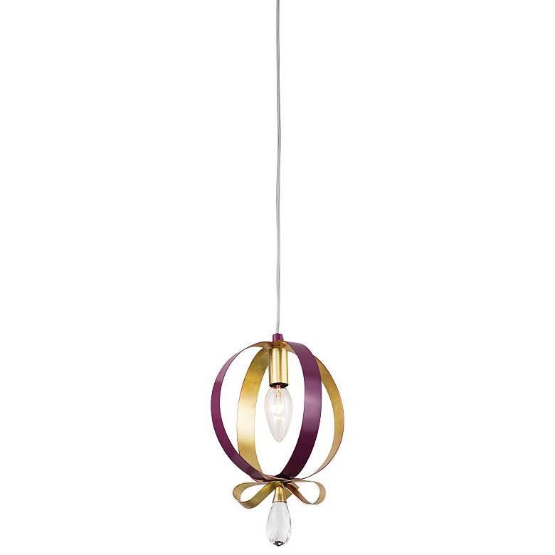 """Varaluz Posh 7"""" Wide Plum and Gold Leaf Round Mini Pendant"""