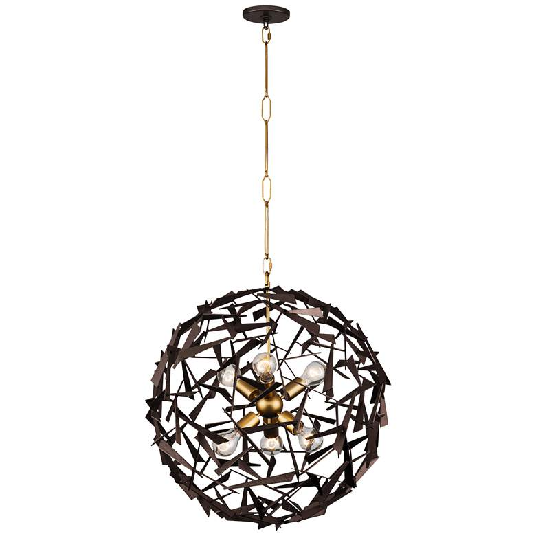 "Bermuda 24""W Antique Gold and Rustic Bronze 6-Light"