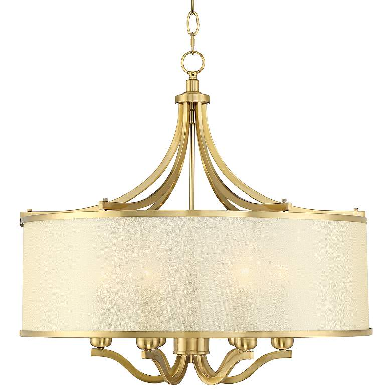"Possini Euro Sydney 25""W Warm Antique Brass Pendant Light"
