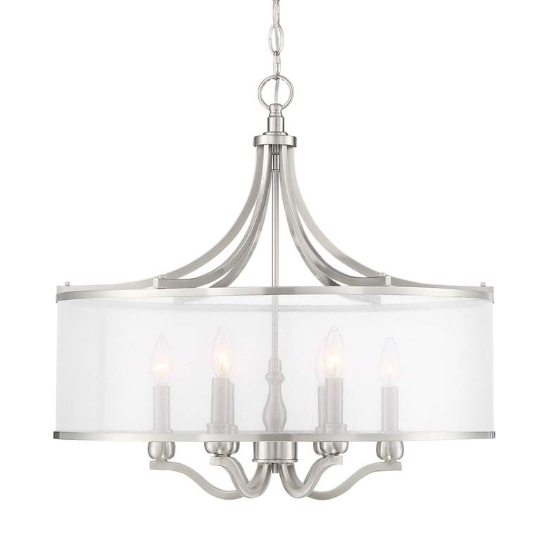 "Possini Euro Sydney 25"" Wide Brushed Nickel 6-Light Pendant"