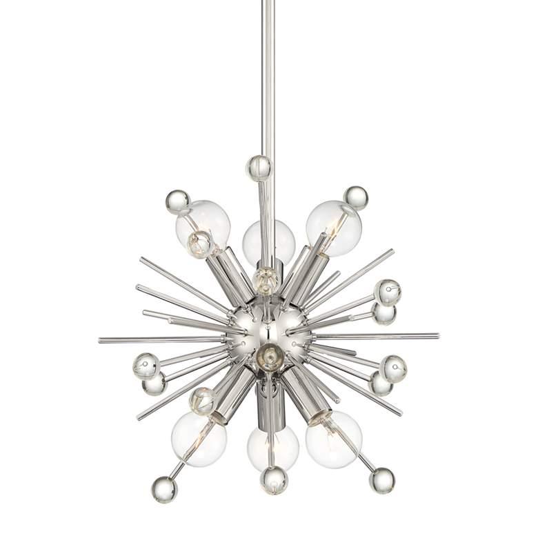 "Possini Euro Janae 12"" Wide Polished Nickel Sputnik Pendant"