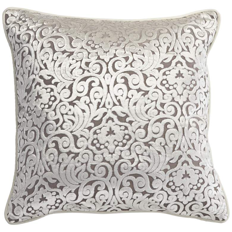 "Ivory Cut Velvet 20"" Square Throw Pillow"