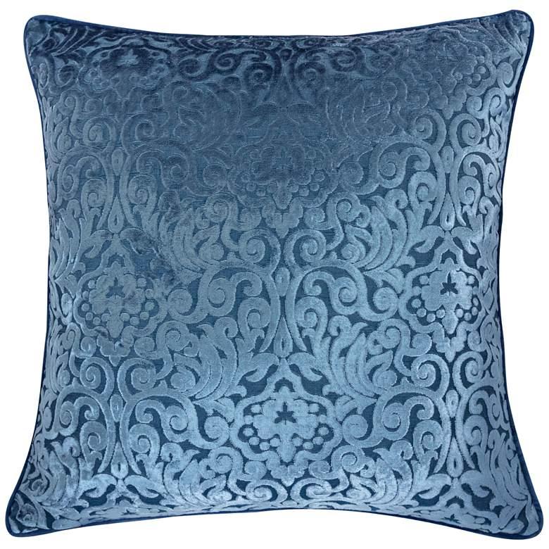 """Blue Cut Velvet 20"""" Square Throw Pillow"""
