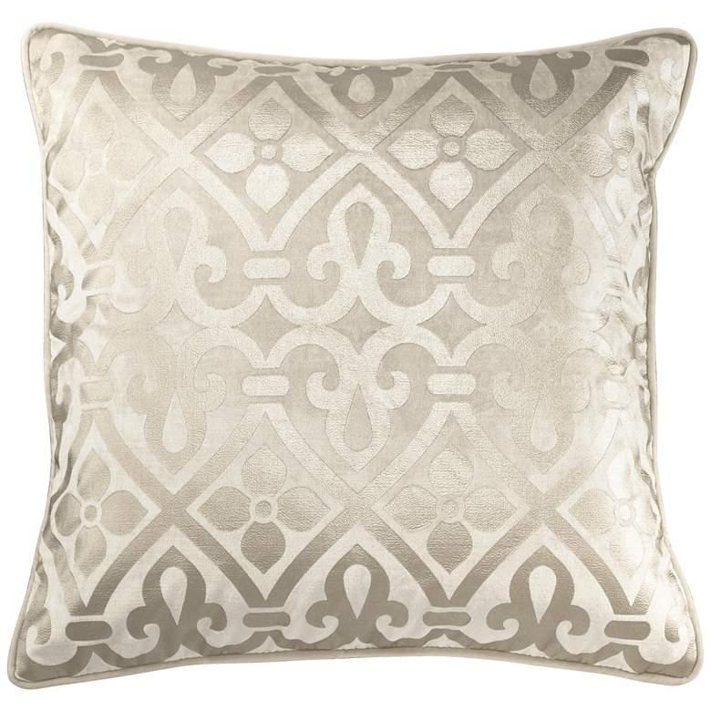 """Ivory Foil Velvet 20"""" Square Throw Pillow"""