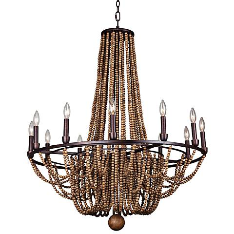 "Beechwood 34"" Wide Royal Mahogany 12-Light Chandelier"