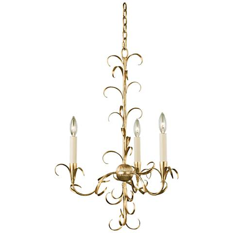 "Ainsley 20"" Wide Oxidized Gold Leaf 3-Light Chandelier"