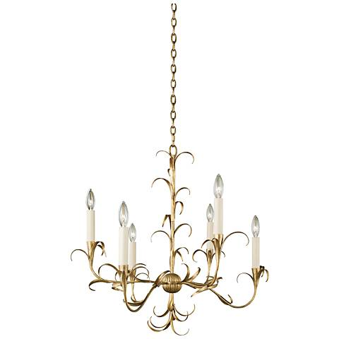 "Ainsley 26"" Wide Oxidized Gold Leaf 6-Light Chandelier"