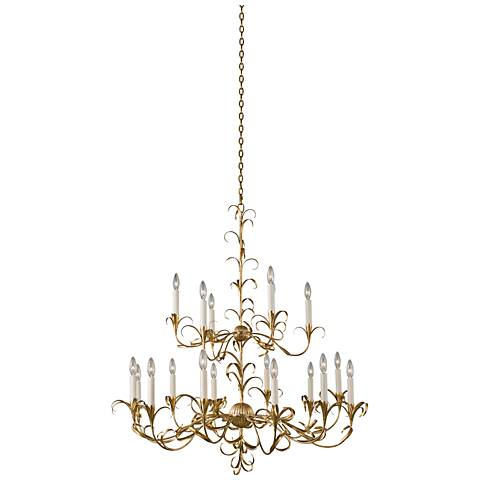 "Ainsley 44""W Oxidized Gold Leaf 18-Light 2-Tier Chandelier"