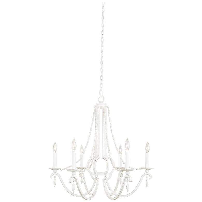 """Acadia 28"""" Wide Distressed White 6-Light Chandelier"""