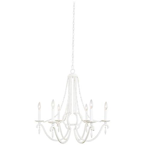 "Acadia 28"" Wide Distressed White 6-Light Chandelier"
