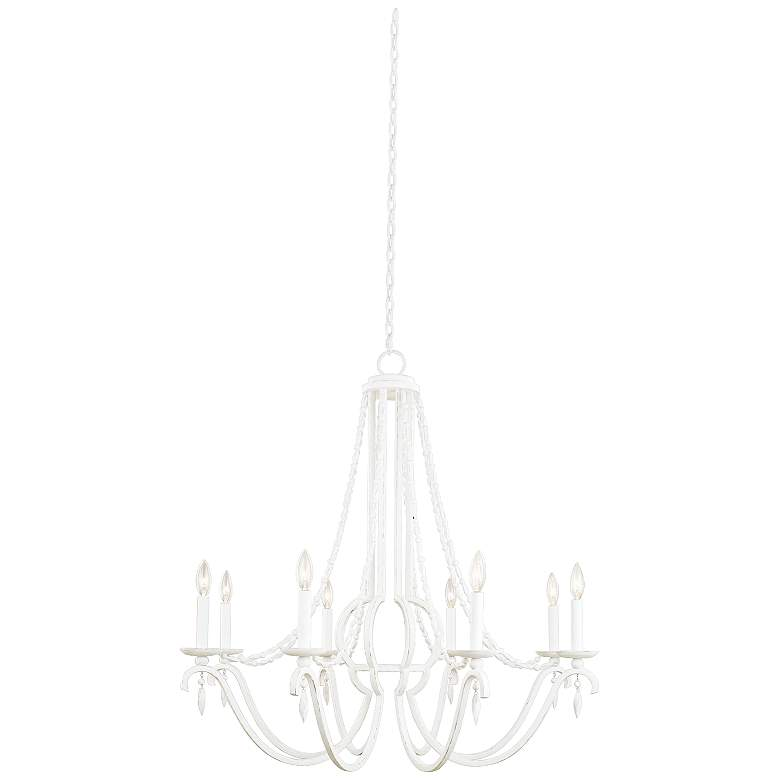 """Acadia 36"""" Wide Distressed White 8-Light Chandelier"""