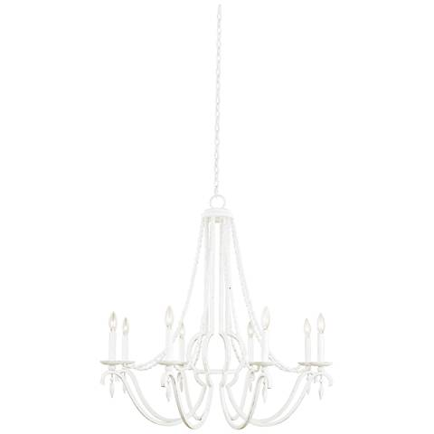 "Acadia 36"" Wide Distressed White 8-Light Chandelier"